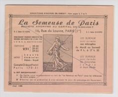 COLLECTEUR LA SEMEUSE DE PARIS 1972  - OCTROI DE CRÉDIT - - Old Paper