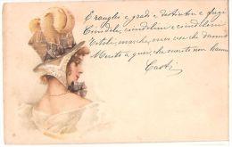 L.C. - ART NOUVEAU  POSTCARD 1900s - WOMAN WITH BIG HAT - Illustrators & Photographers