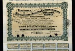 X CERTIFICATO AZIONARIO ANCIENT ETABLISSEMENTS FRANCOIS COPPIN CON CEDOLE STOCK - Industrie