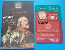 2 Euro Commemorative San Marin / Saint Marin 2007 Giuseppe Garibaldi PIECE NEUVE EN COFFRET - San Marino