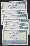 PAKISTAN BANKNOTE - Re.1 Minar-e-Pakistan (1978) Aftab Ahmed Khan Lot Of 8 Notes Z/64 348061-68 All UNC - Pakistan