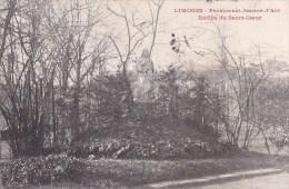 87 LIMOGES   JARDINS Du Pensionnat JEANNE D' ARC  STATUE Du SACRE COEUR Timbrée 1913 - Limoges