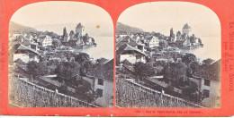 PS54 Photo Collection Stéréoscopique -Suisse Savoie Par Lamy 97 -vue Oberhofen Lac Thoune - Photos Stéréoscopiques