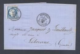 DORDOGNE 25 LAC Tad Type 18  De BERGERAC Sur N° 60 Du 26 Septembre 1876 TTB - Marcofilia (sobres)