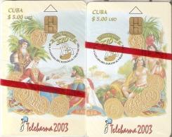 Nº 181-182 PUZZLE DE 2 TARJETAS DE CUBA DE TELEBARNA 2003 DE TIRADA 1000 - MONEDA-COIN (NUEVAS-MINT) - Sellos & Monedas