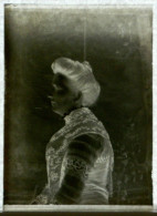 Plaque De Verre Négatif - Portrait De Femme Avec Chignon - 9 X 6,5 Cm - Vue Négative - Glasdias