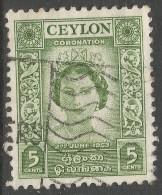 Ceylon. 1953 QEII Coronation. 5c Used. SG433 - Sri Lanka (Ceylon) (1948-...)