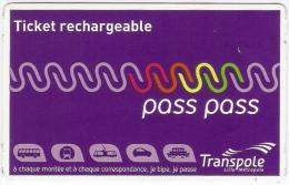 Ticket rechargeable pass pass distributeur automatique (bus, m�tro et tramway) r�seau TRANSPOLE � Lille. 2014.