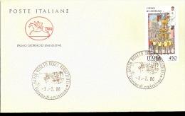 1986 BUSTA CON ANNULLO FDC Folclore. 5ª Serie. Processione ``Le Candelore'', Catania. - Feste