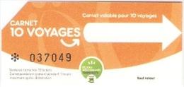 Ticket de carnet (bus) r�seau B�ziers M�diterran�e Transports. 2013.