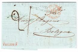 Vorphila Brief Mit Inhalt Von TRIEST 1848 Nach Bologna Mit AK Stempel - Italien