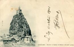 CPA 43 AIGUILHE ROCHER ET EGLISE ST MICHEL 1901 - France