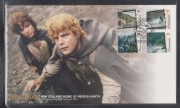 New Zealand 2004 Lord Of The Rings,Home Of Middle Earth, Self-adhesive Stamps FDC - Cinema