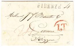 Vorphila Brief Von Florence 25.6.1833 Nach Genève Mit 2Zeil AK-Stempel - Firenze Langstempel Schwarz Und LT Rot - Italien