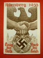 """Farbige Propagandakarte """"Reichsparteitag In Nürnberg 1933"""" Von Deutsches Reich, Gelaufen - Allemagne"""