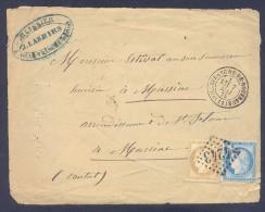 AVEYRON 12 Devant De Lettre VILLEFRANCHE DE ROUERGUE  Tad 17 Du 7 Mai 1875 GC 4243 Sur N° 60 Et 55 SUP - Storia Postale