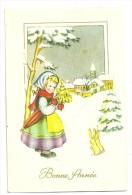 Bonne Année. Petite Fille Et Lapins Dans La Neige, Sapin Décoré, Village Et église. 1963.  JC - Nouvel An