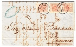 Brief Von Milano 8.11.1853 Nach Vicenza Mit Mi.#3 Senkrechtes Paar - 1. ...-1850 Vorphilatelie