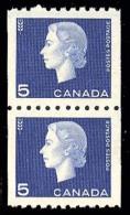 Canada (Scott No. 409 - Elizabeth) [**]  Timbre Roulette / Coil Stamp (Paire / Pair) TB / VF - 1952-.... Règne D'Elizabeth II