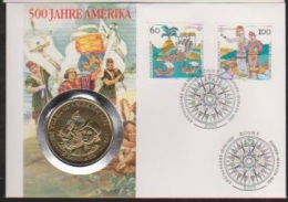 COOK ISLANDS 1992 - Numisbrief  5$ - COLOMBO 500 Years Of America 1492-1992 - Isole Cook