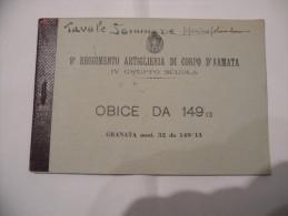 Ww1 9°REGGIMENTO ARTIGLIERIA CORPO D'ARMATA TAVOLE DI TIRO OBICE GRANATA DA 149/ - Altri