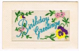 RB 999 - WWI Embroidered Silk Postcard - Birthday Greetings - Borduurwerk