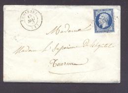 AIN 01 TROISSEY LAC Tad Type 15 Du 15 Mai 1857 PC 3355 Sur N° 14 Bleu Foncé  TTB - Postmark Collection (Covers)