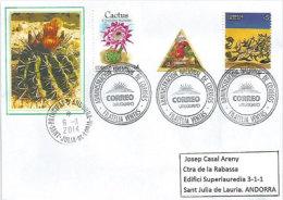 URUGUAY.Cactus, Belle Lettre Adressée En Andorre,avec Timbre à Date Arrivée Au Recto Enveloppe. - Uruguay