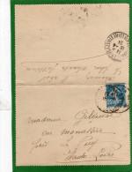 CARTE LETTRE SEMEUSE CAMEE 25c DATE  PARIS POUR VILLE AVRIL 1924 - Entiers Postaux
