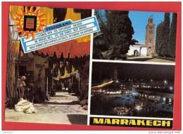 H597  MAROC MARRAKECH MULTI VUES 1981 TIMBRE CACHET FLAMME - Marrakech