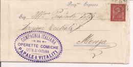 COMPAGNIA ITALIANA OPERETTE COMICHE,CATANIA, PIEGO ILLUSTRATIVO DELLE OPERE,1896,CATANIA -MONZA TONDORIQUADRATO - Teatro, Travestimenti & Mascheramenti