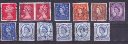 Engeland  13 Perfine Stamps  Used - Perforadas