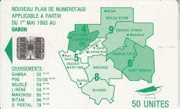 GABON - Green Map, Third Chip Isuue 50 Units(reverse B-with Moreno Logo), Chip SC7, Used - Gabon