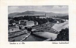 Sudetenland TETSCHEN A.d. Elbe - Decin Brücke Dampfer Eisenbahn Bahnhof Züge - Sudeten