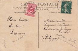 Belgisches Nachporto Auf Ansichtskarte Lille - Portomarken