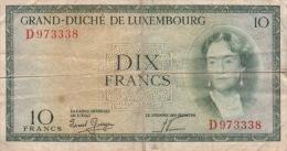 Billet De Dix Francs Grand Duché Du Luxembourg 1954 Environs D973338 - Luxembourg