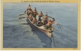Alaska Eskimos Native American Hunt Walrus In Omiak Long Boat, C1940s Vintage Linen Postcard - Native Americans