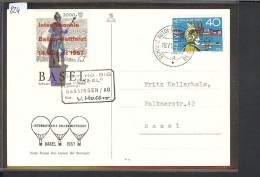 SUISSE - INTERN. BALLON WETTFAHRT 1957 BASEL AVEC VIGNETTE - Cartas