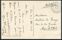 1917 Switzerland Fieldpost Feldpost Post Militaire Bataillon 12 Sion Postcard - Documents