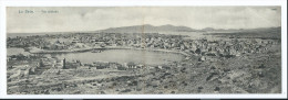 GRECE CARTE DOUBLE PANORAMIQUE PORT LE PIREE ATHENES 3 Scans / FREE SHIPPING REGISTERED - Grecia
