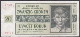 Bohemia And Moravia, 20 Kronen, P.9 (1944) F - Czechoslovakia