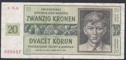 Bohemia And Moravia, 20 Kronen, P.9 (1944) VG - Czechoslovakia