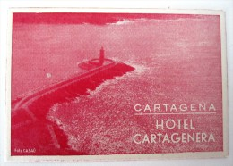 HOTEL ALBERGO PENSION HOSTAL CARTAGENERA CARTAGENA SPAIN LUGGAGE LABEL ETIQUETTE AUFKLEBER DECAL STICKER - Hotel Labels