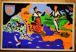 13 : La Côte Bleue  - Arles - Miramas - Marseille ... Carte Fantaisie Feutrine ( Inhabituel ) - Pli D'angle - (n°2896) - Unclassified