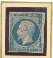 N°10 BLEU LAITEUX VARIETE ANNEAU LUNE. - 1852 Louis-Napoleon