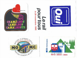 Lot 4 Autocollants Rail / Train / Cff / Martigny St-Bernard Express, Moutier-Grenchen-Lengnau - Autocollants