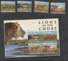 BOTSWANA, 2014, MNH,LIONS , LIONS OF THE CHOBE,4v+S/SHEET, NICE! - Roofkatten