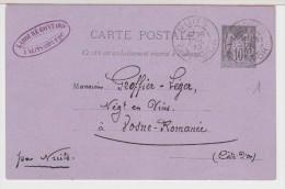 21  NUITS   Entier Postal 1890  De LABOURE  GONTARD à NUITS- Dest - VOSNE - ROMANEE - Nuits Saint Georges