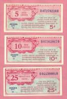3 Banknotes 5,10 And 25 Cents QFDS - UNC - Certificati Di Pagamenti Militari (1946-1973)