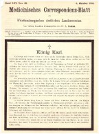Original Todesanzeige - 1891 - König Karl Von Württemberg , Adel !!! - Todesanzeige